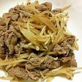 牛肉ともやしの麺つゆガーリック炒め