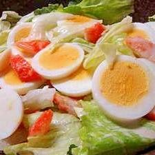カニ風味ゆで卵サラダ