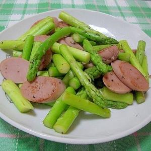 アスパラ魚肉ソーセージ炒め