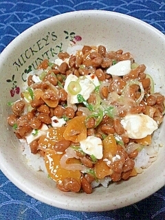 納豆の食べ方-クリームチーズ&漬物♪