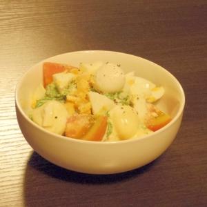 黒胡椒ピリリ★菜の花のチーズタマゴサラダ