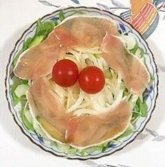 水菜、セロリ、生ハムのサラダ