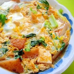 豆腐と小松菜さつまあげの卵とじ