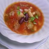 水煮豆DE簡単♡たっぷりお豆と牛肉のスープ♡