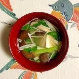 チンゲン菜、木綿豆腐、ひらたけ、えのきのお味噌汁