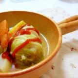 圧力鍋でロール白菜♪つなぎにご飯を使って節約☆