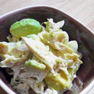 鶏ささみとアボカドの柚子胡椒マヨ和え