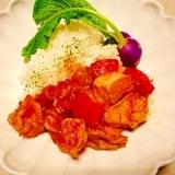 鶏胸肉と厚揚げ☆ピリ辛っトマト煮