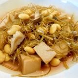 刻み昆布と高野豆腐、大豆の煮もの