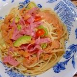 アボカド・トマト・ハムの冷製パスタ