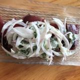 紫玉ねぎと青じそのマヨドレがけ鰹のたたきサラダ