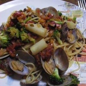あっさりおいしい 春野菜とアサリのパスタ