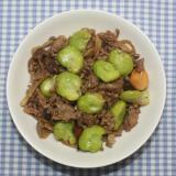 ガッツリ☆そら豆と乾燥しめじのひき肉オイスター炒め