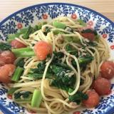 トマトと小松菜のツナパスタ
