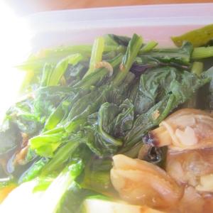 浅利と昆布の法蓮草味醂醤油煮