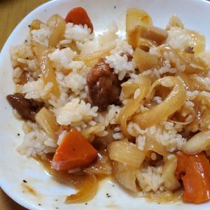 筍と玉ねぎと人参の餡かけご飯