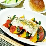 茄子と南瓜の簡単トマトグラタン
