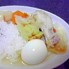 骨付き鶏と野菜のスープ飯♪