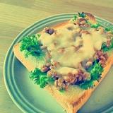 わさび菜納豆チーズトースト