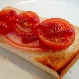 オレガノ/ケチャで ハムとトマトのトースト
