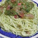 素麺で簡単パスタ風、鯛の大葉ジェノヴェーゼ