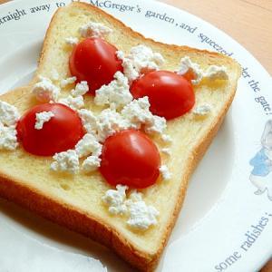 5分!?カッテージチーズとミニトマトのトースト♪