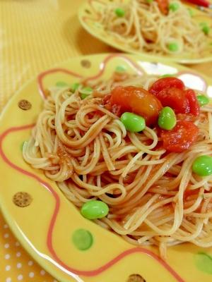 夏野菜で✿トマトと枝豆のバジルソースパスタ❤