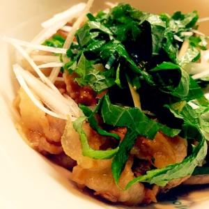 辛子酢で豚バラの香味野菜