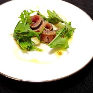 秋のコース前菜:秋刀魚のサラダ レモンソース