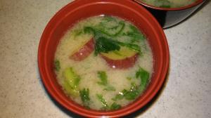春菊とサツマイモの味噌汁