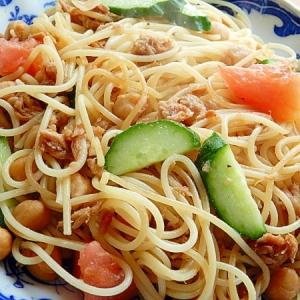 焼肉のタレで❤ひよこ豆&ツナのパスタ♪(生野菜)