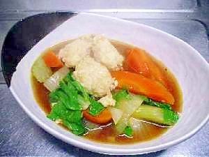 鶏団子でアッサリ!セロリのカレースープ