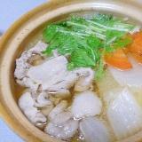 土鍋で簡単♪たっぷり白菜と水菜の豚しゃぶ鍋