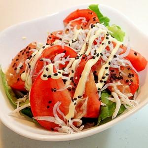 胡麻ドレ/マヨで サラダ菜とトマトとしらすのサラダ