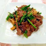 牛肉とニラのピリ辛にんにく生姜スタミナ炒め