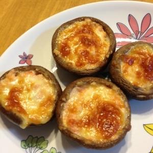 トースターで簡単☆椎茸の明太チーズ焼き