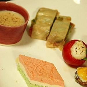 雛祭りの前菜 菱餅風テリーヌ