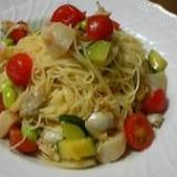 アサリとホタテ、枝豆の冷製カペッリーニ