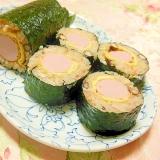 お赤飯de❤稲荷あげ&魚肉ソーセージの巻き寿司❤
