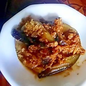 ナスと鶏ひき肉の味噌炒め