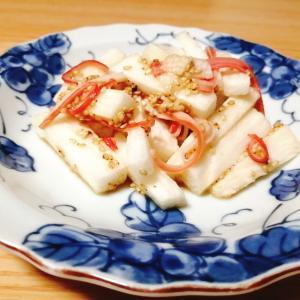 長芋とカニカマのごまぽん酢和え