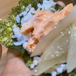鮭と新玉ねぎの海苔巻き
