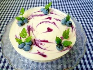 ブルーベリージャムでレアチーズケーキ♪