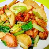 塩麹鶏と冷凍ポテト小松菜の炒め
