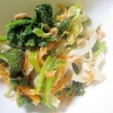 蓮とほうれん草と人参の胡麻醤油サラダ