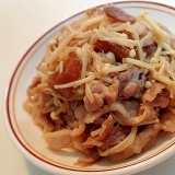 蜂蜜醤油で 豚肉とえのき茸と黒大蒜の炒め物♬