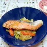 白菜と鮭のチャンチャン焼き。