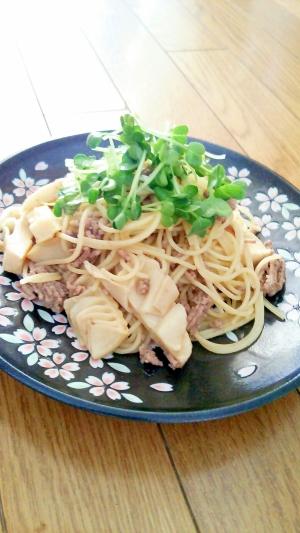 筍と挽き肉のパスタ