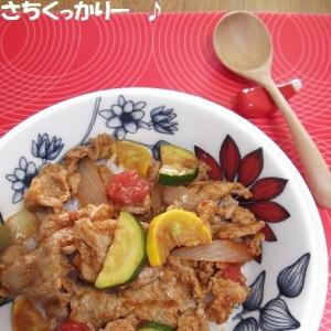 調味料3つ★ノンオイル★うまトマカレー豚丼