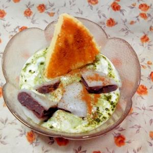 和と洋♡柏餅とチーズケーキの青汁ヨーグルト